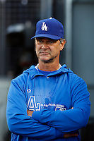 Los Angeles Dodgers Manager Don Mattingly #8 during a game against the Atlanta Braves at Dodger Stadium on June 6, 2013 in Los Angeles, California. (Larry Goren/Four Seam Images)