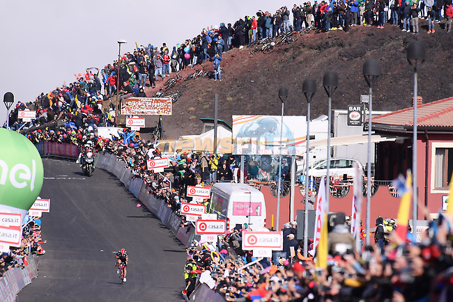 Jan Polanc (SLO) UAE Team Emirates approaches the finish line on the slopes of Mount Etna during Stage 4 of the 100th edition of the Giro d'Italia 2017, running 181km from Cefalu to Mount Etna, Sicily, Italy. 9th May 2017.<br /> Picture: LaPresse/Gian Mattia D'Alberto | Cyclefile<br /> <br /> <br /> All photos usage must carry mandatory copyright credit (&copy; Cyclefile | LaPresse/Gian Mattia D'Alberto)