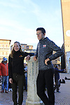 Last year's winners Tiesj Benoot (BEL) Lotto-Soudal and World Champion Anna Van der Breggen (NED) Boels Dolmans pose for pictures in Il Campo Siena finish line of the 2019 Strade Bianche running 184km from Siena to Siena, held over the white gravel roads of Tuscany, Italy. 8th March 2019.<br /> Picture: Eoin Clarke | Cyclefile<br /> <br /> <br /> All photos usage must carry mandatory copyright credit (&copy; Cyclefile | Eoin Clarke)