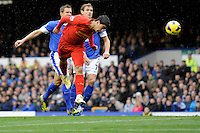 28.10.2012 Liverpool, England. Luis Suarez  of Liverpool scores Liverpool second goal during the Premier League game between Everton and Liverpool  from Goodison Park ,Liverpool