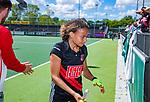 AMSTELVEEN  - Leiah Brigitha (A'dam) speelde haar laatste officiële hoofdklassewedstrijd. afscheid.   Hoofdklasse hockey dames ,competitie, dames, Amsterdam-Groningen (9-0) .     COPYRIGHT KOEN SUYK
