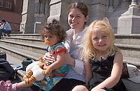 Nadine, Morgan and Safina on the steps of St Peters, Drogheda 31st July 2007