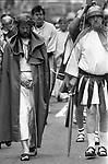 A Passion Pageant, re-enacting Jesus Christ as he carries his cross,  makes its way through the streets of Killarney, County Kerry, Ireland in 1988.  The event was organised by Supreme Knight of Innisfallen Mike Mulcahy.<br /> Photo: Don MacMonagle <br /> e: info@macmonagle.com