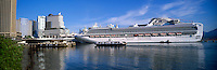 Seabus Ferry passing Cruise Ship docked at Canada Place Cruise Ship Terminal, Vancouver, BC, British Columbia, Canada - Port of Vancouver Harbour, Vancouver Convention and Exhibition Centre (East Facility) - Panoramic View