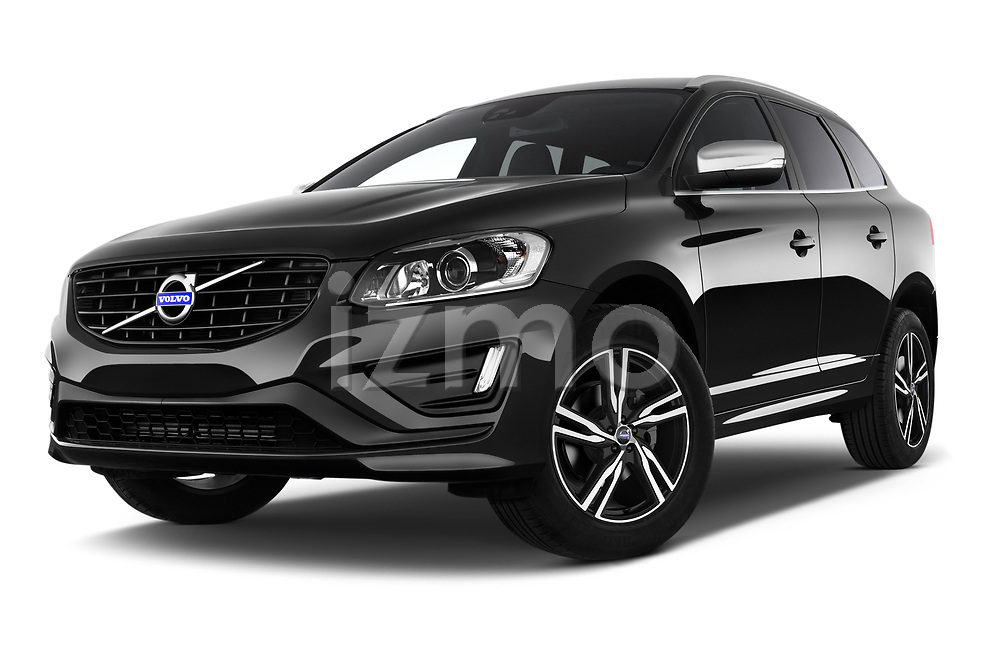 Stock pictures of low aggressive front three quarter view of 2017 Volvo XC60 R-Design 5 Door SUV Low Aggressive