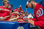 9 March 2014: Washington Nationals infielder Jeff Kobernus signs autographs prior to a Spring Training game against the St. Louis Cardinals at Space Coast Stadium in Viera, Florida. The Nationals defeated the Cardinals 11-1 in Grapefruit League play. Mandatory Credit: Ed Wolfstein Photo *** RAW (NEF) Image File Available ***