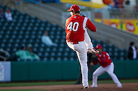 Brett Zawacki (40) of the Springfield Cardinals winds up during a game against the Frisco RoughRiders on April 16, 2011 at Hammons Field in Springfield, Missouri.  Photo By David Welker/Four Seam Images