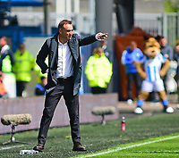 Sheffield Wednesday manager Carlos Carvalhal  shouts instructions to his team from the dug-out<br /> <br /> Photographer Andrew Vaughan/CameraSport<br /> <br /> The EFL Sky Bet Championship Play-Off Semi Final First Leg - Huddersfield Town v Sheffield Wednesday - Saturday 13th May 2017 - The John Smith's Stadium - Huddersfield<br /> <br /> World Copyright &copy; 2017 CameraSport. All rights reserved. 43 Linden Ave. Countesthorpe. Leicester. England. LE8 5PG - Tel: +44 (0) 116 277 4147 - admin@camerasport.com - www.camerasport.com