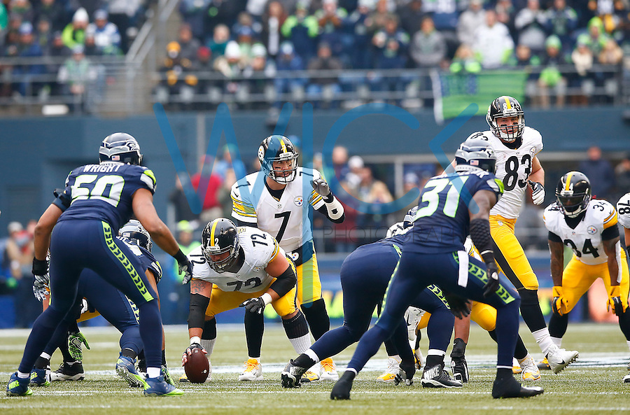 Ben Roethlisberger #7 of the Pittsburgh Steelers in action against the Seattle Seahawks during the game at CenturyLink Field on November 29, 2015 in Seattle, Washington. (Photo by Jared Wickerham/DKPittsburghSports)