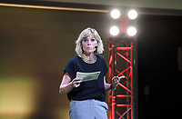 20190827 – BRUSSELS , BELGIUM :  host Catherine Moerkerke pictured during the women 's Football Summit , a summit where the Belgian Football Association KBVB uncover their plans for the future of women soccer in Belgium , tuesday 27 th August 2019 at the Brussels Expo Auditorium 2000  , Belgium  .  PHOTO SPORTPIX.BE   DAVID CATRY