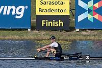 Sarasota. Florida NZL M1X. Robbie MANSON.  Semi Final A/B. 2017 World Rowing Championships, Nathan Benderson Park<br /> <br /> Friday  29.09.17   <br /> <br /> [Mandatory Credit. Peter SPURRIER/Intersport Images].<br /> <br /> <br /> NIKON CORPORATION -  NIKON D500  lens  VR 500mm f/4G IF-ED mm. 200 ISO 1/640/sec. f 7.1  mm f/4G IF-ED mm. 200 ISO 1/800/sec. f 8