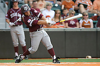 Texas A&M Aggies catcher Kevin Gonzalez #6 swngs against the Texas Longhorns in NCAA Big XII Conference baseball on May 21, 2011 at Disch Falk Field in Austin, Texas. (Photo by Andrew Woolley / Four Seam Images)
