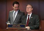 Nevada Senate President Pro Tem David Parks, D-Las Vegas, right, talks with Senate Secretary David Byerman at the Legislative Building in Carson City, Nev., on Tuesday, Feb. 26, 2013..Photo by Cathleen Allison