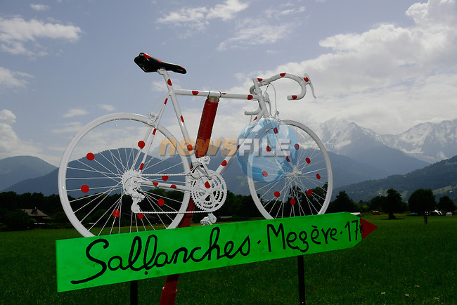 Roadside decoration during Stage 18 of the 2016 Tour de France a17km individual mountain time trial from Sallanches to Megeve, France. 21st July 2016.<br /> Picture: ASO/B.Bade | Newsfile<br /> <br /> <br /> All photos usage must carry mandatory copyright credit (&copy; Newsfile | ASO/B.Bade)