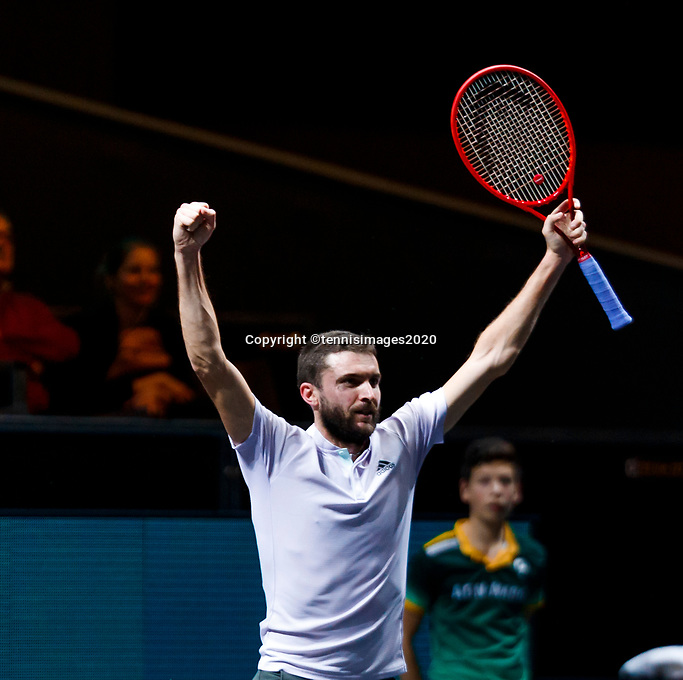 Rotterdam, The Netherlands, 12 Februari 2020, ABNAMRO World Tennis Tournament, Ahoy, Gilles Simon (FRA) celebrates his win.<br /> Photo: www.tennisimages.com