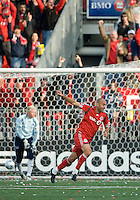 26 April 2009:  Toronto FC forward Danny Dichio #9 celebrates his goal during an MLS game at BMO Field between Kansas City Wizards and Toronto FC.Toronto FC won 1-0. .