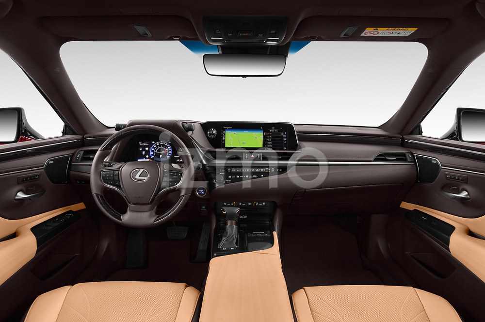 Stock photo of straight dashboard view of 2019 Lexus ES 300h-Privilege-Line 4 Door Sedan Dashboard