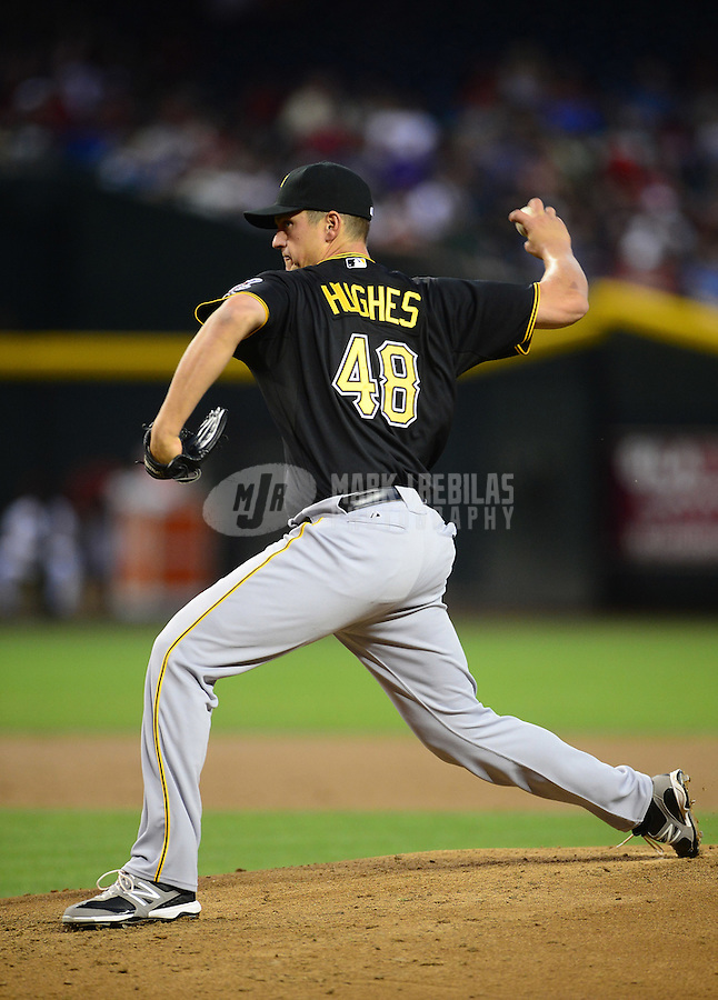 Apr. 17, 2012; Phoenix, AZ, USA; Pittsburgh Pirates pitcher Jared Hughes throws in the second inning against the Arizona Diamondbacks at Chase Field. Mandatory Credit: Mark J. Rebilas-