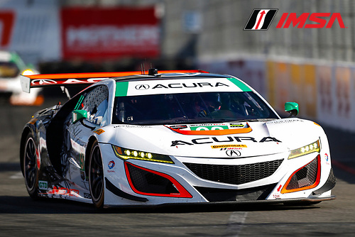 2017 IMSA WeatherTech SportsCar Championship<br /> BUBBA burger Sports Car Grand Prix at Long Beach<br /> Streets of Long Beach, CA USA<br /> Friday 7 April 2017<br /> 93, Acura, Acura NSX, GTD, Andy Lally, Katherine Legge<br /> World Copyright: Jake Galstad/LAT Images
