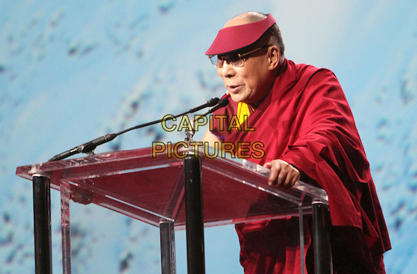 25 February 2014 - Los Angeles, California - Dalai Lama.  His Holiness the 14th Dalai Lama of Tibet &quot;21st Century Compassion&quot; public speaking event held at the LA Forum.<br /> CAP/ADM/RE<br /> &copy;Russ Elliot/AdMedia/Capital Pictures