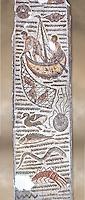 Late 4th century AD Roman mosaic depiction a fishing scene. From Cathage, Tunisia.  The Bardo Museum, Tunis, Tunisia.