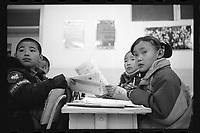 Jeminay County, Xinjiang Uygur Autonomous Region, China - Primary students study in class, October 2019.