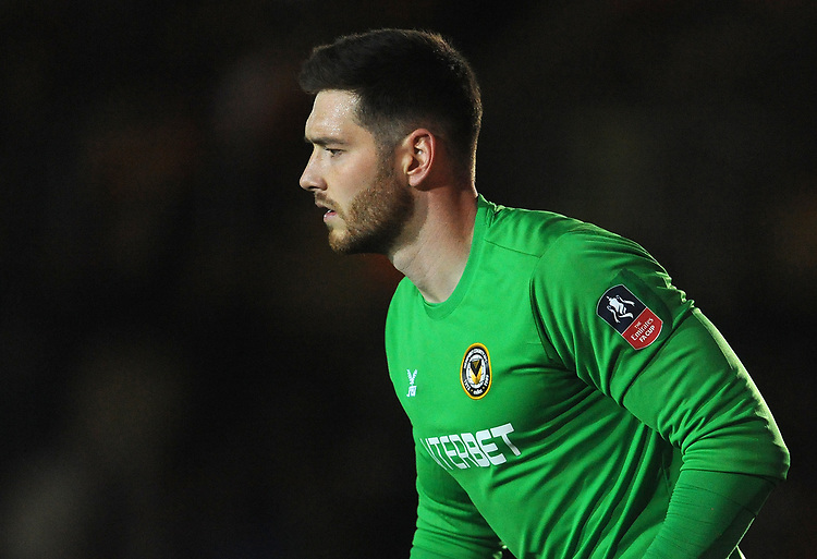 Newport County's Joe Day during the match <br /> <br /> Photographer Ian Cook/CameraSport<br /> <br /> The Emirates FA Cup Third Round - Newport County v Leicester City - Sunday 6th January 2019 - Rodney Parade - Newport<br />  <br /> World Copyright &copy; 2019 CameraSport. All rights reserved. 43 Linden Ave. Countesthorpe. Leicester. England. LE8 5PG - Tel: +44 (0) 116 277 4147 - admin@camerasport.com - www.camerasport.com