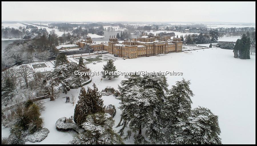 BNPS.co.uk (01202 558833)<br /> Pic: PeteSeaward/BlenheimPalace/BNPS<br /> <br /> Winter wonderland - Blenheim Palace in the snow today.
