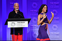 "HOLLYWOOD, CA - MARCH 23: Ryan Murphy and Mj Rodriguez at PaleyFest 2019 for FX's ""Pose"" panel at the Dolby Theatre on March 23, 2019 in Hollywood, California. (Photo by Vince Bucci/FX/PictureGroup)"