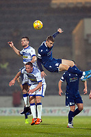 1st November 2019; Dens Park, Dundee, Scotland; Scottish Championship Football, Dundee Football Club versus Greenock Morton; Kyle Jacobs and Chris Millar of Greenock Morton compete in the air with Andrew Nelson of Dundee  - Editorial Use