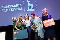 Nederland, Utrecht, 29 oktober 2014. Het 34ste Nederlands Film Festival 2014. Winnaars StudentenAwards: Vlnr: Chris Stengers en Juul Op den Kamp (Filmproducenten Nederland Award), Viktor van der Valk (Tuschinski Award) en Joanne van der Weg (Dioraphte Award).<br /> Photo: 31pictures.nl / (c) 2014, www.31pictures.nl