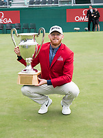 Sebastian Soderberg (SWE) celebrates victory on the 18th green during final round at the Omega European Masters, Golf Club Crans-sur-Sierre, Crans-Montana, Valais, Switzerland. 01/09/19.<br /> Picture Stefano DiMaria / Golffile.ie<br /> <br /> All photo usage must carry mandatory copyright credit (© Golffile | Stefano DiMaria)