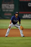 Mississippi Braves third baseman Luis Valenzuela (1) during a Southern League game against the Jackson Generals on July 23, 2019 at The Ballpark at Jackson in Jackson, Tennessee.  Mississippi defeated Jackson 1-0 in the second game of a doubleheader.  (Mike Janes/Four Seam Images)