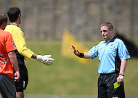 Referee Campbell Waugh waves away Wellington captain Jim Bannatyne's concerns..NZFC soccer  - Team Wellington v Waikato FC at Newtown Park, Wellington. Sunday, 20 December 2009. Photo: Dave Lintott/lintottphoto.co.nz
