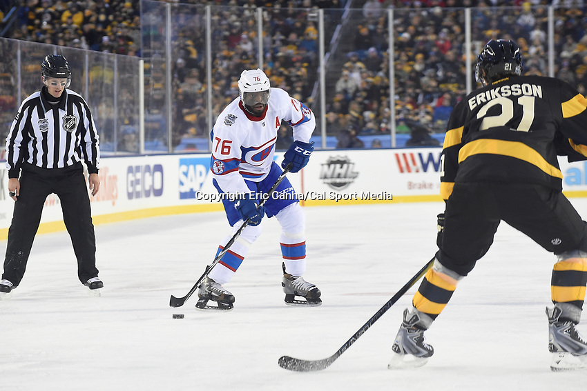 Friday January 1, 2016: Montreal Canadiens defenseman P.K. Subban (76) plays the puck at the blue line during the National Hockey League Bridgestone Winter Classic game between the Montreal Canadiens and the Boston Bruins, held at Gillette Stadium in Foxborough, Massachusetts. Montreal defeats Boston 5-1 in regulation time. Eric Canha/CSM