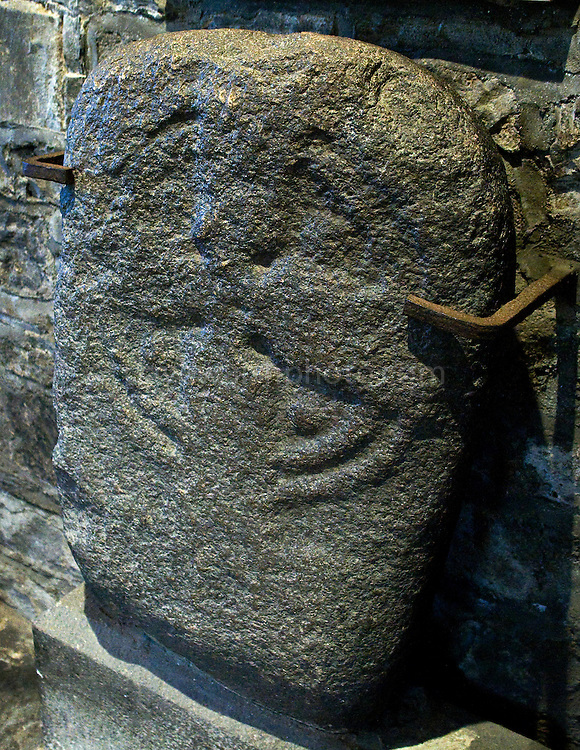 The Lucky Stone at St. Audoen's Church, Dublin, which is possibly a grave marker from the grounds of nearby St. Patrick's during the early Christian period. It's had a few adventures in its time - being stolen, and moved around. The stone is said to glow, jump and shake, groan and even take on a human form! Touching the stone is said to bring luck....One of the oldest existing churches in Dublin, St. Audoens is a Norman church to St Ouen, built in 1190 to replace an earlier church to St Colmcille. The three bells in the belltower are reported to date to 1423. The mysterious Lucky Stone, an early Christian grave marker, is in the porch, where it has been since 1309. The main porch also houses the Portleister Tomb, featuring two carved effigys of the church benefactor and his wife. .
