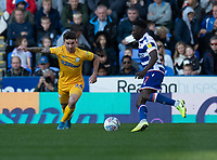 Reading's Andy Yiadom (right) under pressure from Preston North End's Sean Maguire (left) <br /> <br /> Photographer David Horton/CameraSport<br /> <br /> The EFL Sky Bet Championship - Reading v Preston North End - Saturday 19th October 2019 - Madejski Stadium - Reading<br /> <br /> World Copyright © 2019 CameraSport. All rights reserved. 43 Linden Ave. Countesthorpe. Leicester. England. LE8 5PG - Tel: +44 (0) 116 277 4147 - admin@camerasport.com - www.camerasport.com