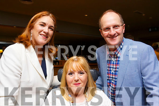 Judges Grace O'Donnell, Carmel Birmingham and Fr Padraig Walsh, pictured at the Enable Ireland Lip Sing battle at the Ballyroe Heights hotel on Saturday night.
