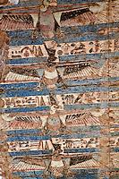 Colorful hieroglyphs, The Temple of Kom-Ombo, near Aswan, Egypt