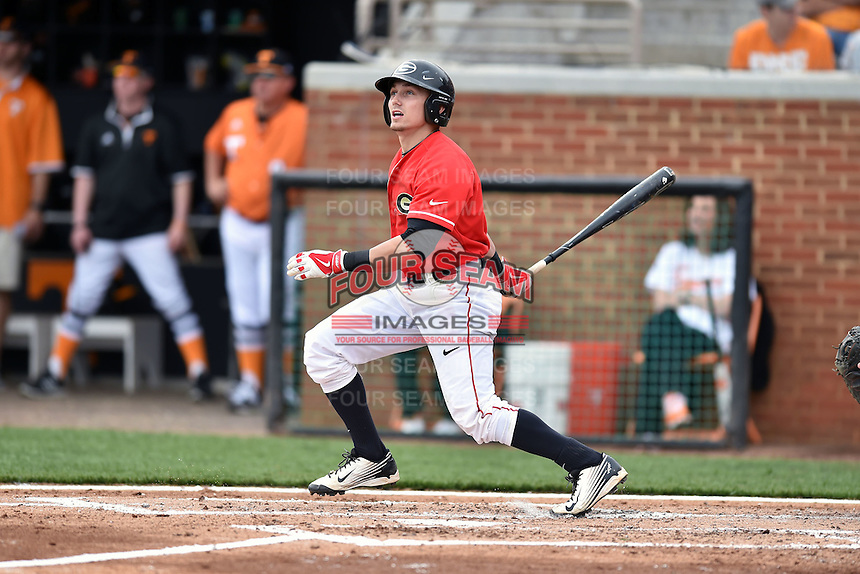 Georgia Bulldogs right fielder Skyler Weber (1) swings at a pitch during a game against the Tennessee Volunteers at Lindsey Nelson Stadium March 21, 2015 in Knoxville, Tennessee. The Bulldogs defeated the Volunteers 12-7. (Tony Farlow/Four Seam Images)