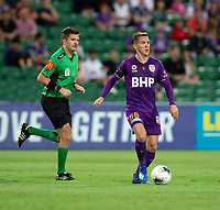 7th February 2020; HBF Park, Perth, Western Australia, Australia; A League Football, Perth Glory versus Wellington Phoenix; Neil Kilkenny of the Perth Glory breaks through the midfield