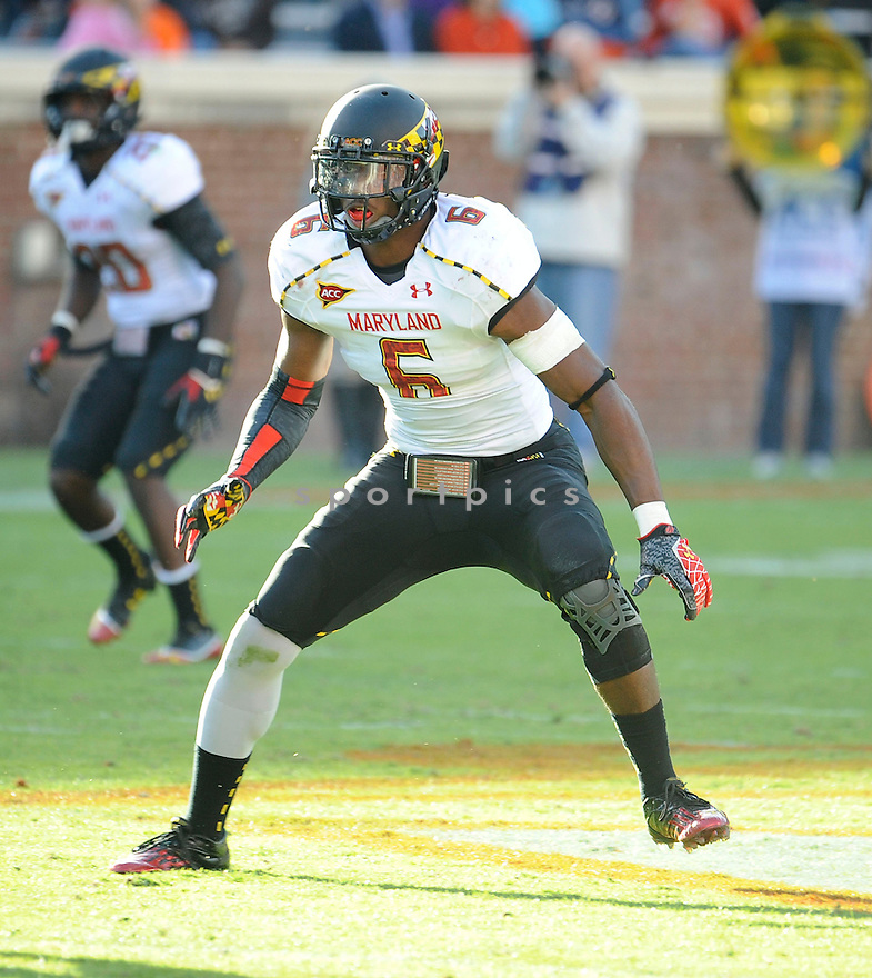 Maryland Terrapins Kenneth Tate (6) in action during a game against Virginia on October 13, 2012 at Scott Stadium in Charlottesville, VA. Maryland beat Virginia 27-20.