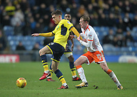 Blackpool's Sean Longstaff battles with Oxford United's Josh Ruffels <br /> <br /> Photographer Mick Walker/CameraSport<br /> <br /> The EFL Sky Bet League One - Rochdale v Blackpool - Monday 1st January 2018 - Spotland Stadium - Rochdale<br /> <br /> World Copyright &copy; 2018 CameraSport. All rights reserved. 43 Linden Ave. Countesthorpe. Leicester. England. LE8 5PG - Tel: +44 (0) 116 277 4147 - admin@camerasport.com - www.camerasport.com