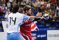 05 APR 2012 - LONDON, GBR - Great Britain's Steven Larsson (GBR) (right, in red and blue) passes during the men's 2012 London Cup match against Argentina at the National Sports Centre in Crystal Palace, Great Britain (PHOTO (C) 2012 NIGEL FARROW)
