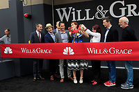 "LOS ANGELES - AUG 2:  Bob Greenblatt, Eric Garcetti, David Kohan, Max Mutchnick, Eric McCormack, Debra Messing, Megan Mullally, Sean Hayes, James Burrows at the ""Will & Grace"" Start of Production Kick Off Event at the Universal Studios on August 2, 2017 in Universal City, CA"