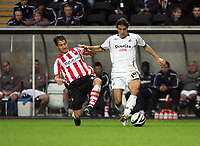 Pictured: Jordi Gomez of Swansea (R) tackled by a Southampton player. <br /> Re: Coca Cola Championship, Swansea City Football Club v Southampton at the Liberty Stadium, Swansea, south Wales 25 October 2008.<br /> Picture by Mike Greenslade / Dimitrios Legakis Photography, Swansea, 07815441513