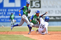 Lexington Legends second baseman Carlos Garcia (6)  and attempts to apply a tag as Wes Rogers slides in safely during a game against the Asheville Tourists on May 3, 2015 in Asheville, North Carolina. The Legends defeated the Tourists 6-3. (Tony Farlow/Four Seam Images)