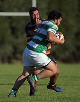Action from the Wairarapa Bush club rugby match between Greytown and Marist at Greytown Rugby Club in Greytown, New Zealand on Saturday, 22 April 2017. Photo: Dave Lintott / lintottphoto.co.nz