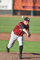 Todd Eaton (50) of the Idaho Falls Chukars delivers a pitch to the plate against the Ogden Raptors in Pioneer League action at Lindquist Field on June 22, 2015 in Ogden, Utah. The Chukars defeated the Raptors 4-3 in 11 innings. (Stephen Smith/Four Seam Images)