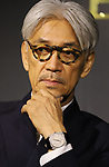 "August 24, 2017, Tokyo, Japan - Japanese composer Ryuichi Sakamoto speaks as he wrote a music ""TIME"" for Italian Jeweler Bvlgari's three-set wrist watch ""Bvlgari Octo Finissimo Trilogy"" at Bvlgari's shop  in Tokyo on Thursday, August 24, 2017. World's only one limited model ""Bvlgari Octo Finissimo Trilogy"" will go on sale at Kobe's watch shop Kamine with a price of 35.17 million yen.   (Photo by Yoshio Tsunoda/AFLO) LwX -ytd-"